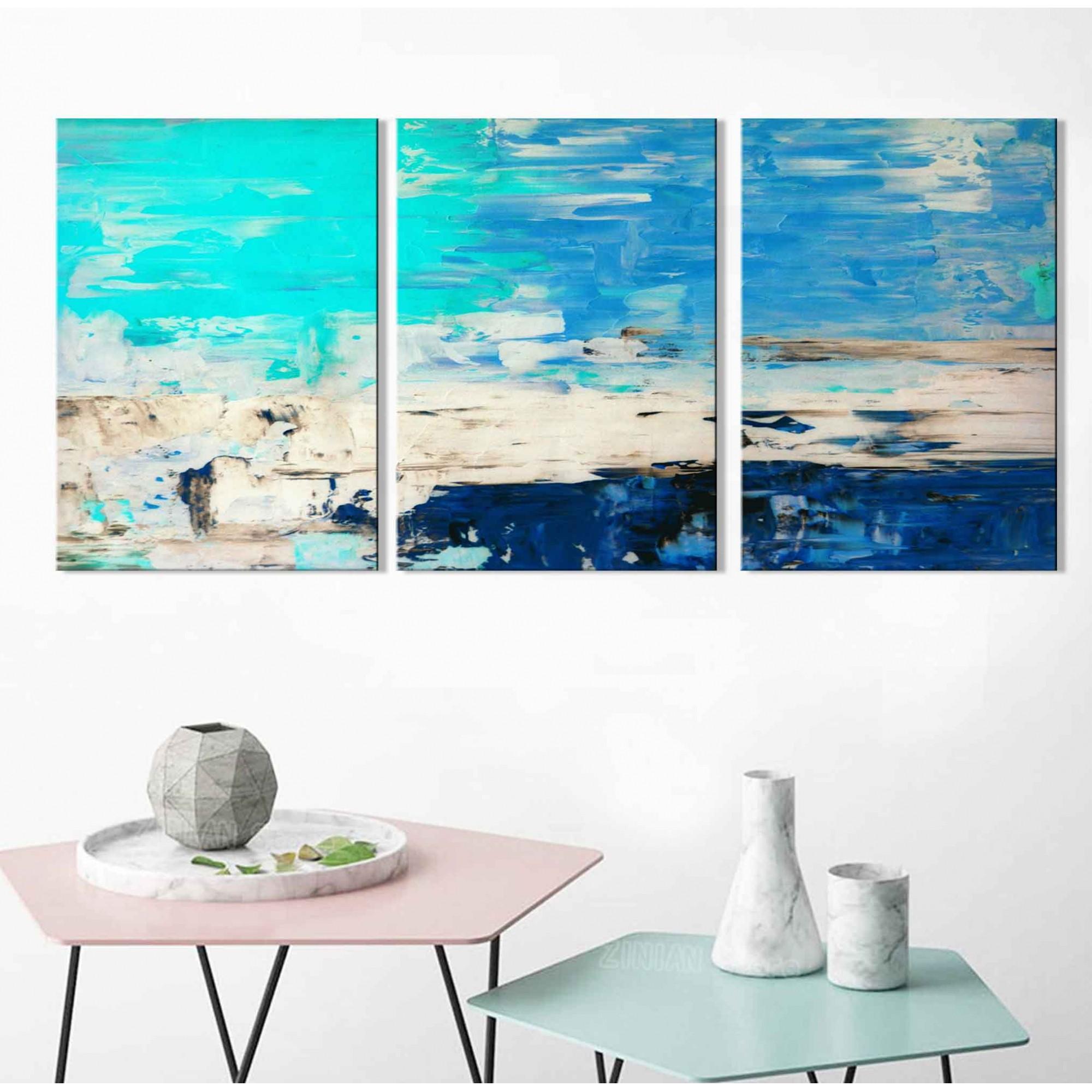Kit Quadros Decorativos Abstrato Azul Marinho