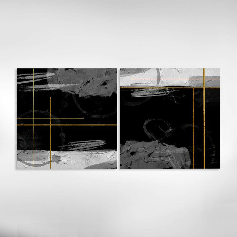 Kit Quadros Decorativos Abstrato Preto Dourado