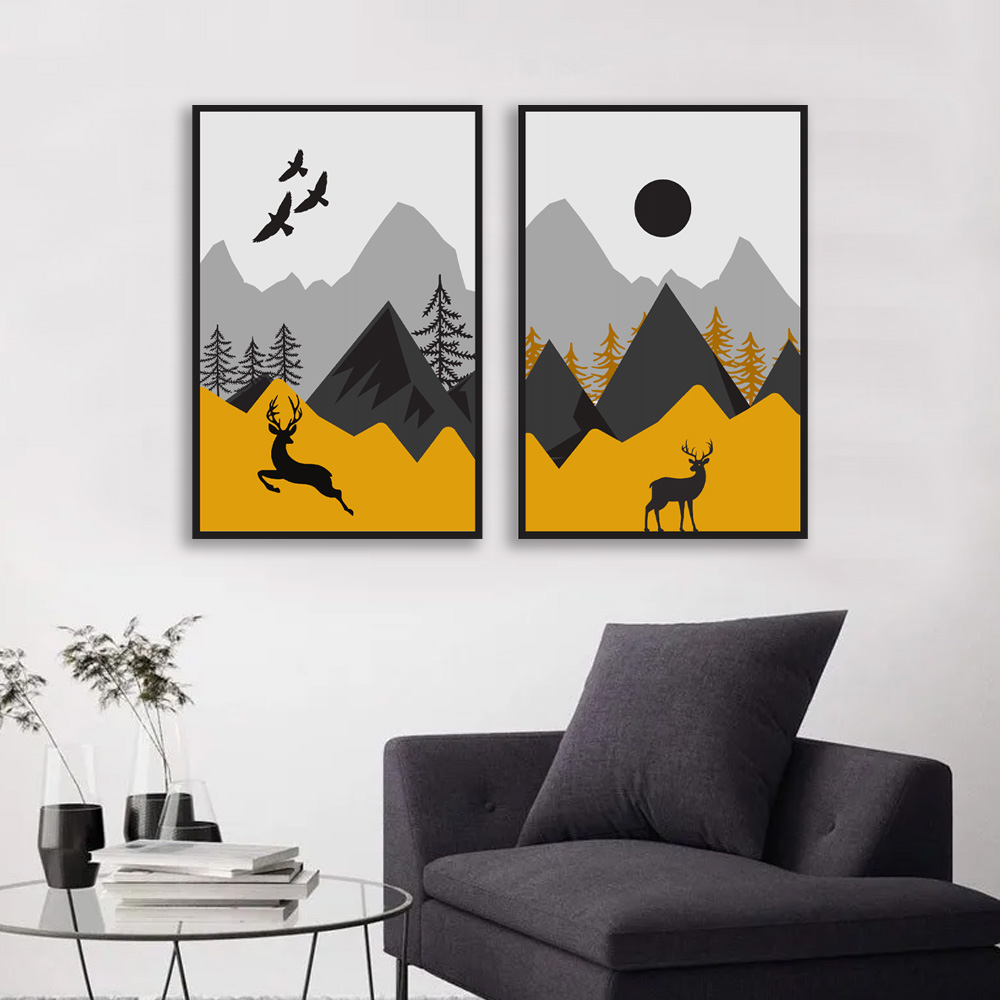 Kit Quadros Decorativos Alce Montanhas