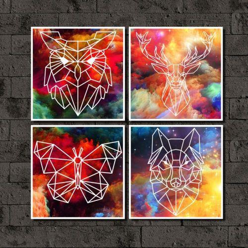Kit Quadros Decorativos Animais Fundo Colorido 4 peças-