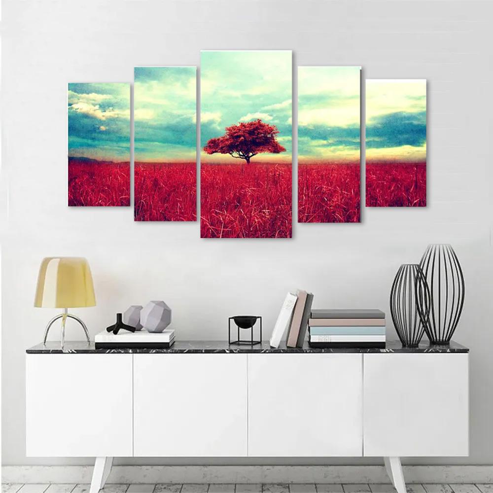 Kit Quadros Decorativos Árvore vermelha  5 peças