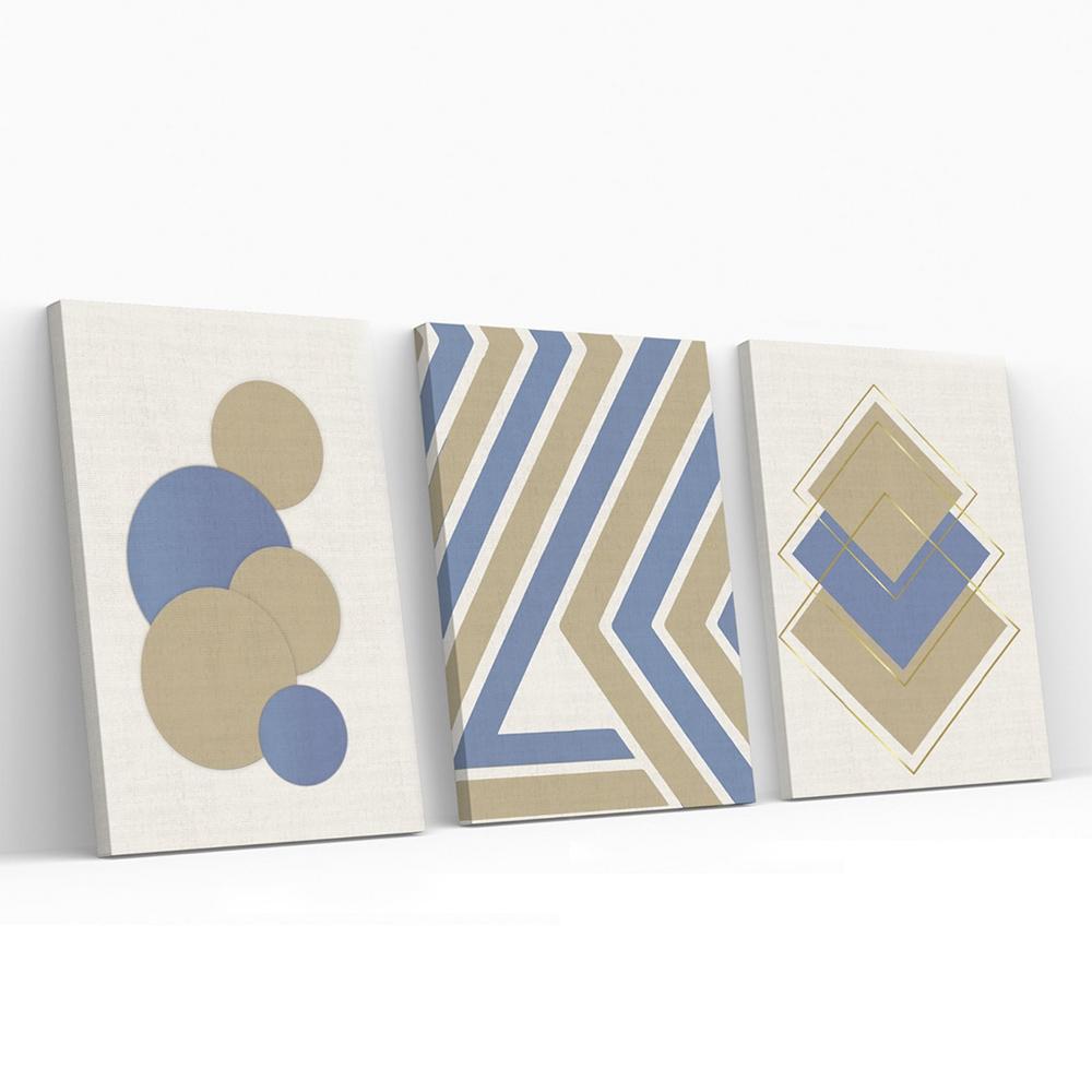 Kit Quadros Decorativos Azul Geometrico