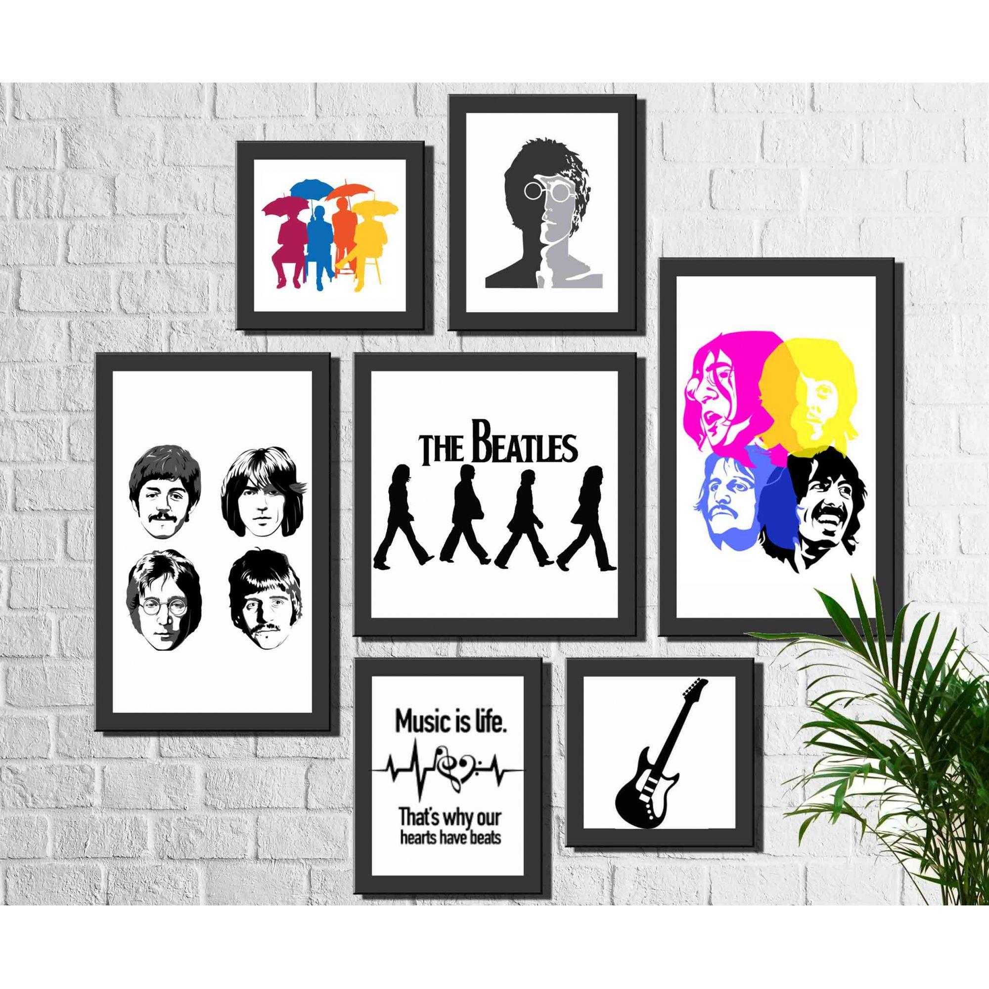Kit 7 Quadros Decorativos Banda Beatles Rock