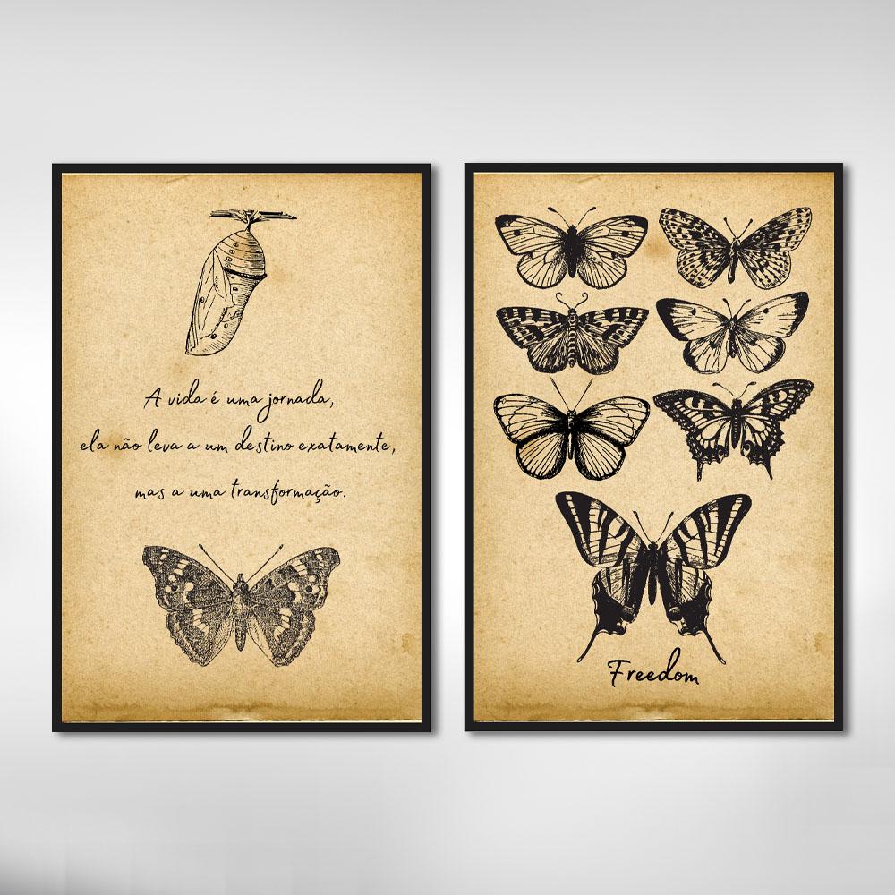 Kit Quadros Decorativos Borboletas Vintage