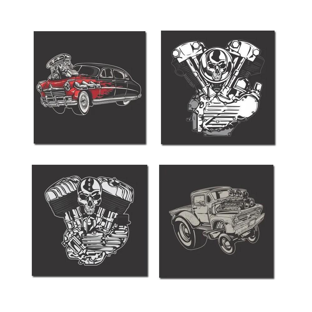 Kit Quadros Decorativos Carros 4 Peças 30x30