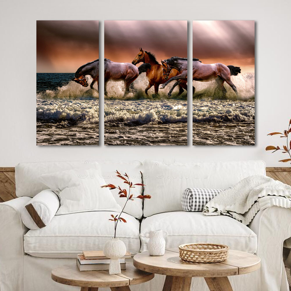 Kit Quadros Decorativos Cavalos Correndo Na Agua