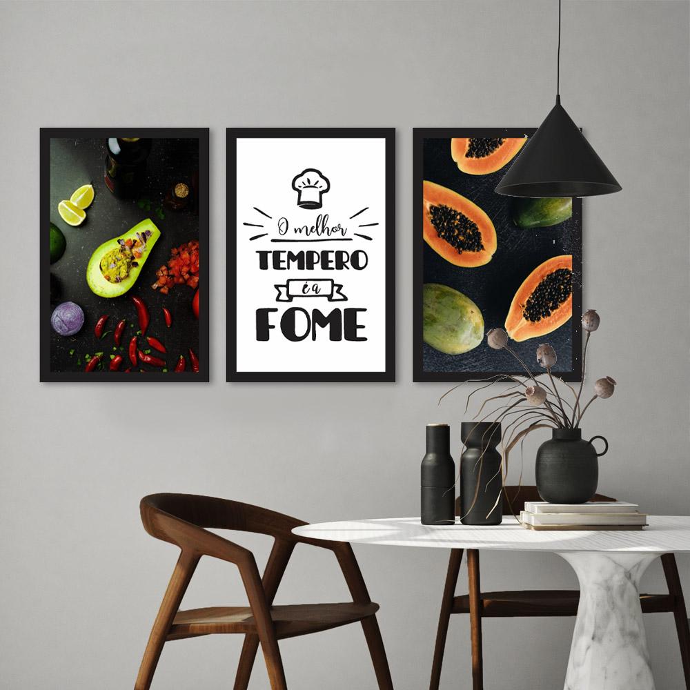 Kit Quadros Decorativos Cozinha Frutas e Frases