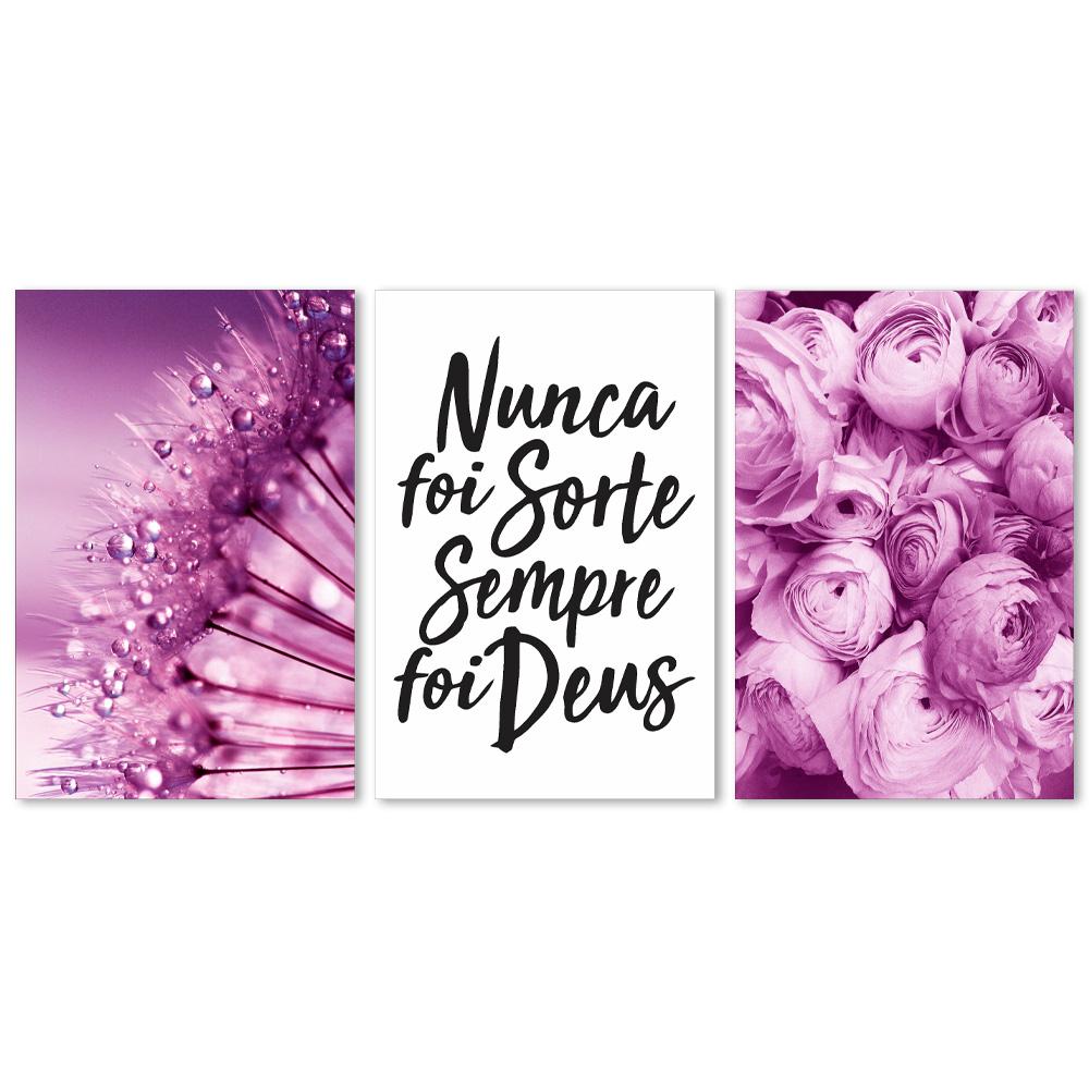 Kit Quadros Decorativos Dente de Leão Rosa Com Frases