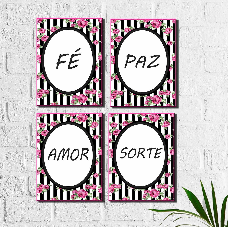 Kit Quadros Decorativos Fé Paz Amor Sorte