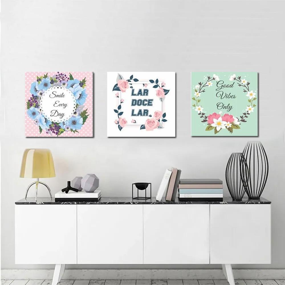 Kit Quadros Decorativos Flores Com Frases 3 Peças