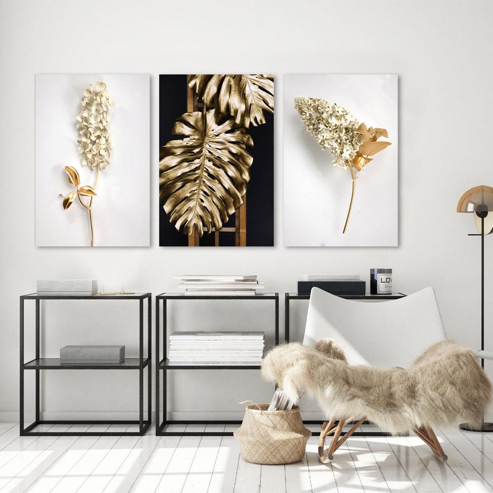 Kit Quadros Decorativos Flores e Folhagem Gold