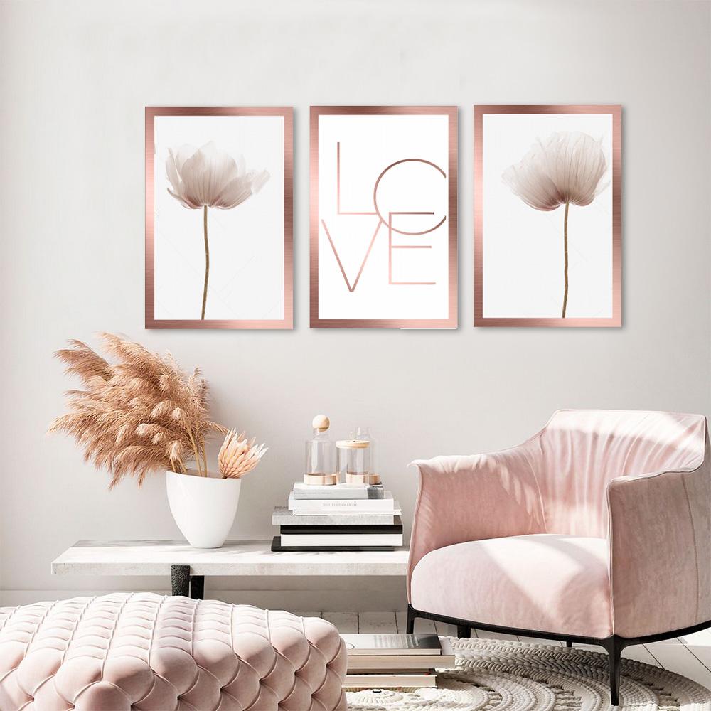 Kit Quadros Decorativos Flores E Love Rose Gold