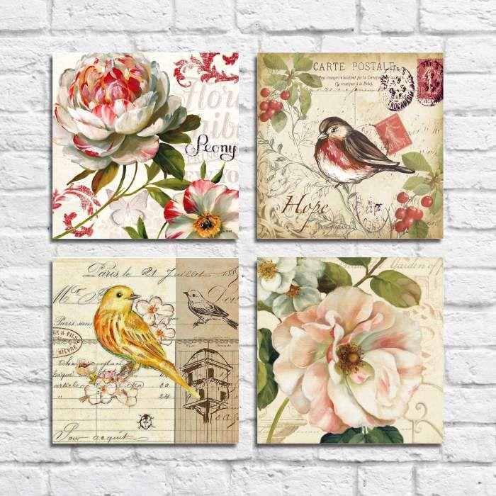 Kit Quadros Decorativos Flores Vintage 4 peças M11