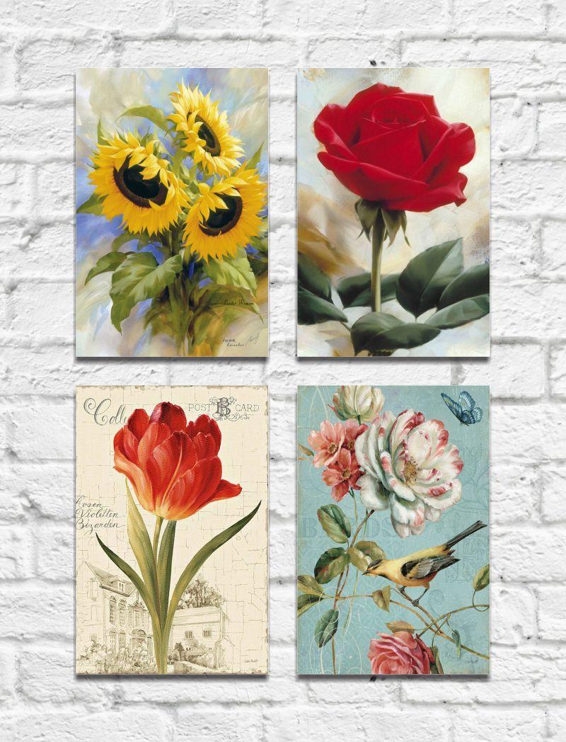 Kit Quadros Decorativos Flores Vintage 4 peças M3