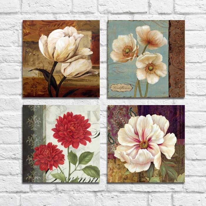 Kit Quadros Decorativos Flores Vintage 4 peças M9