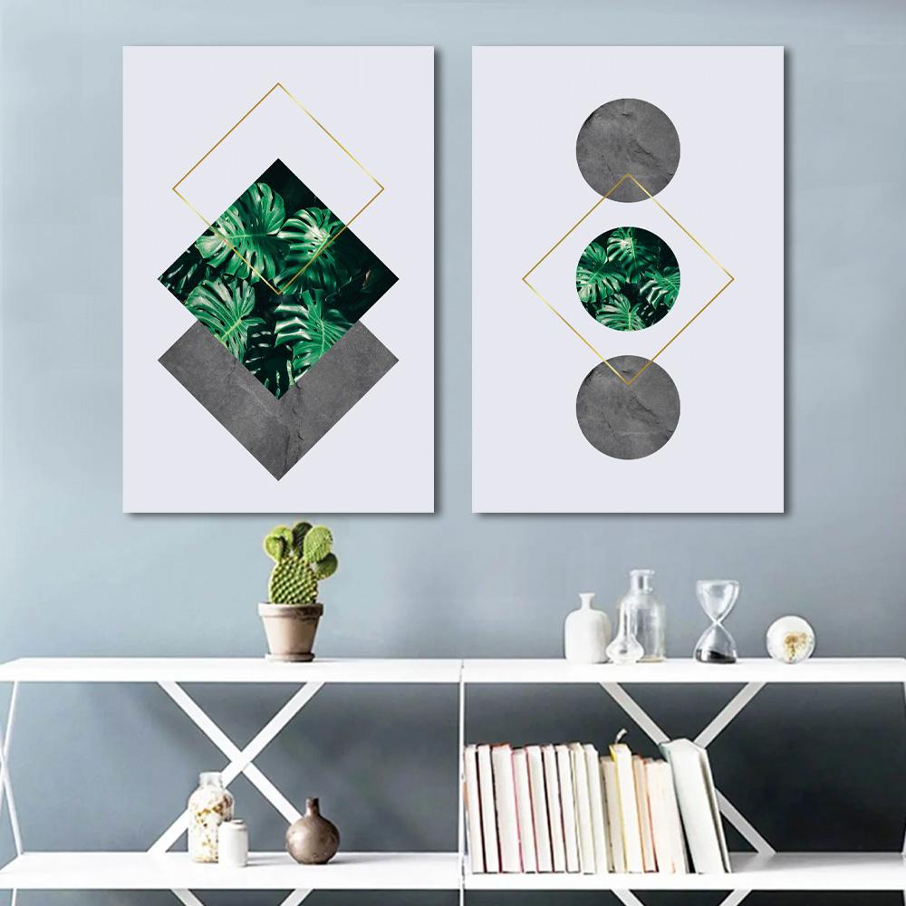 Kit Quadros Decorativos Folhagem Geometrica