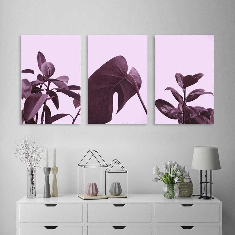 Kit Quadros Decorativos Folhagem Rosa