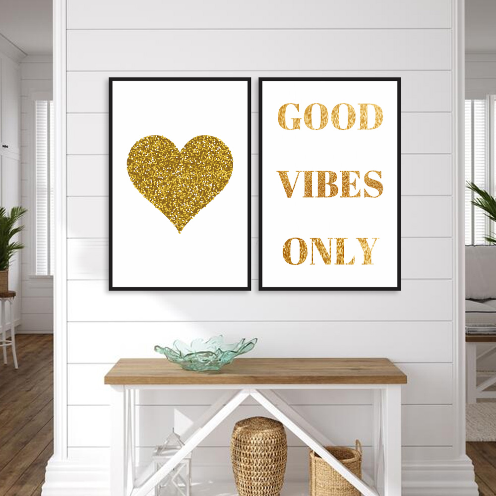 Kit Quadros decorativos Frases Dourada gold