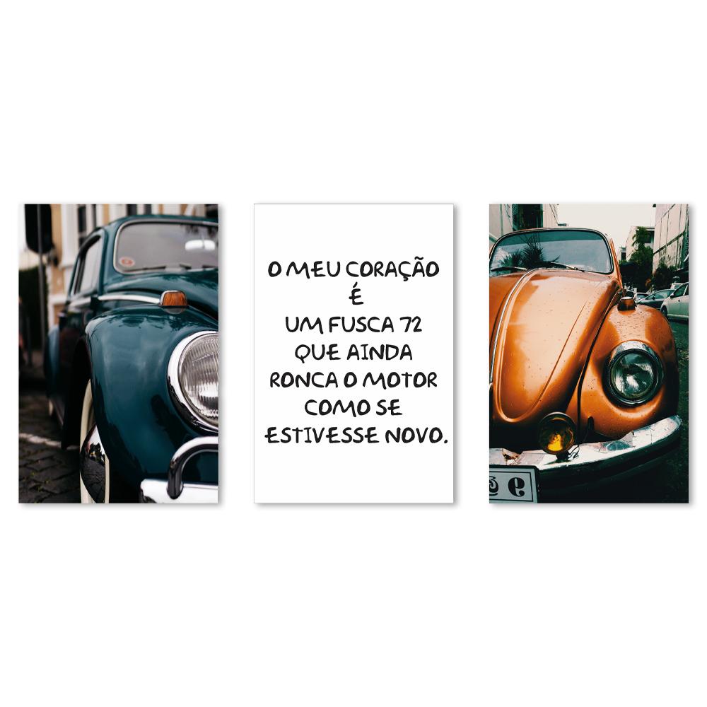 Kit Quadros Decorativos Fusca Vintage Frases