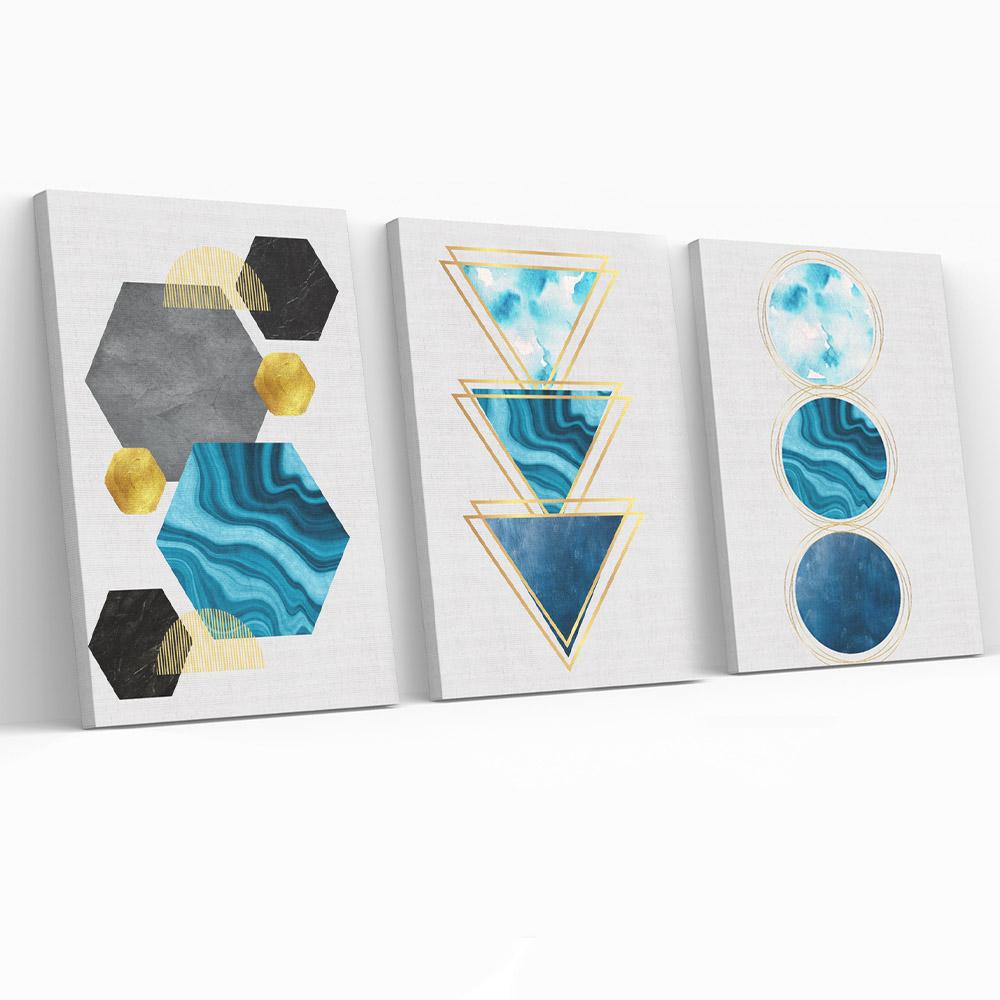 Kit Quadros Decorativos Geometrico Azul