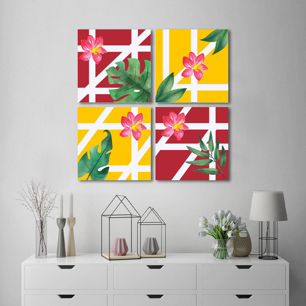 Kit Quadros Decorativos Geométrico com Flores de verão