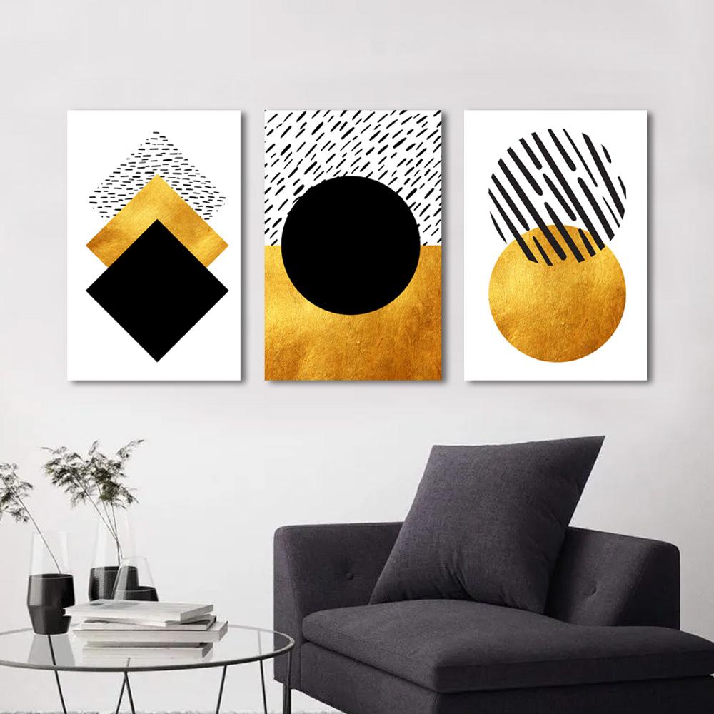 Kit Quadros Decorativos Geometrico Dourado e Preto