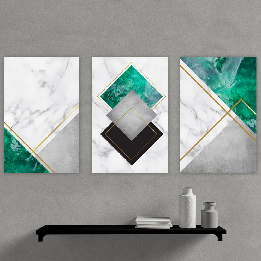 Kit Quadros Decorativos Geometrico Marmore Esverdeado