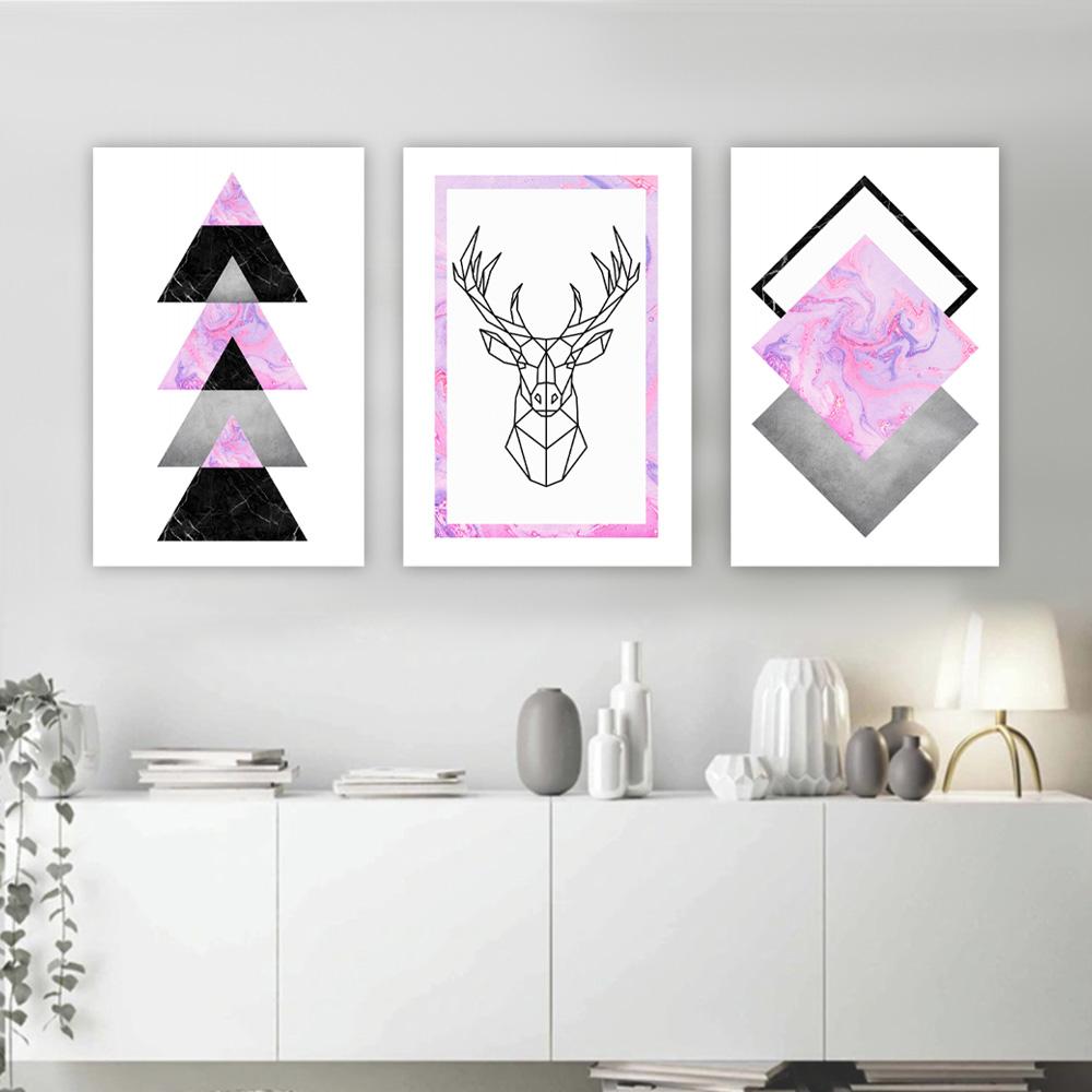 Kit Quadros Decorativos Geometrico Rosa Alce