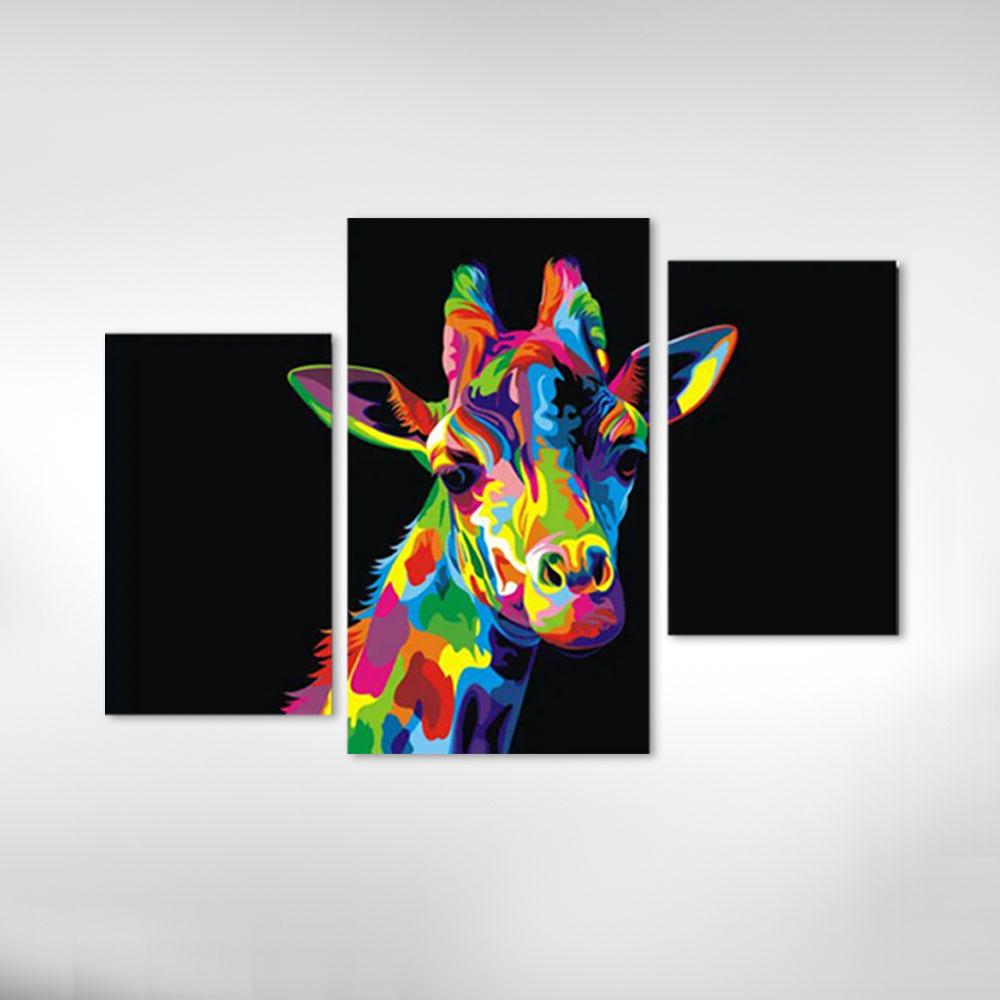 Kit Quadros Decorativos Girafa Moderna Coloridas