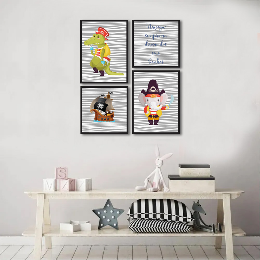 Kit Quadros Decorativos Infantil Piratas