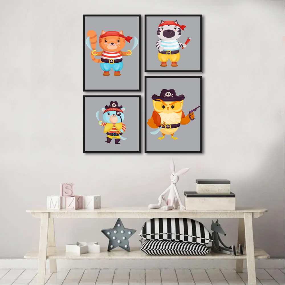 Kit Quadros Decorativos Infantil Piratas m2