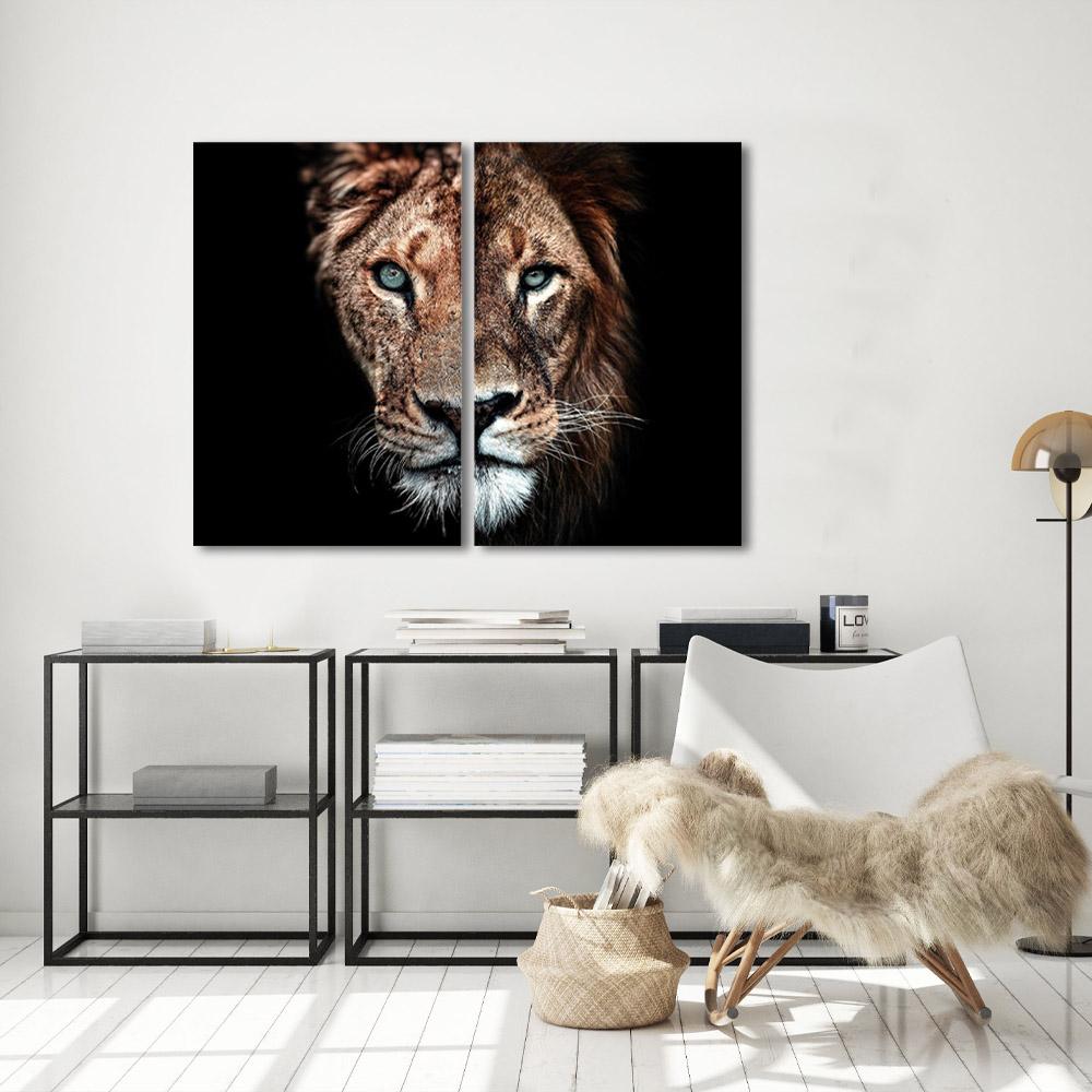 Kit quadros Decorativos Leão e Leoa