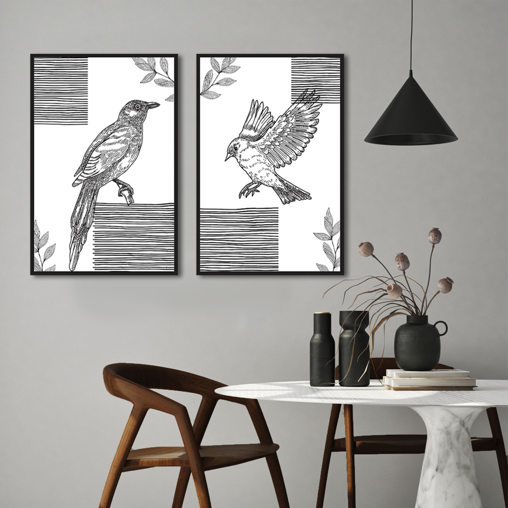 Kit Quadros Decorativos Line Art Pássaros