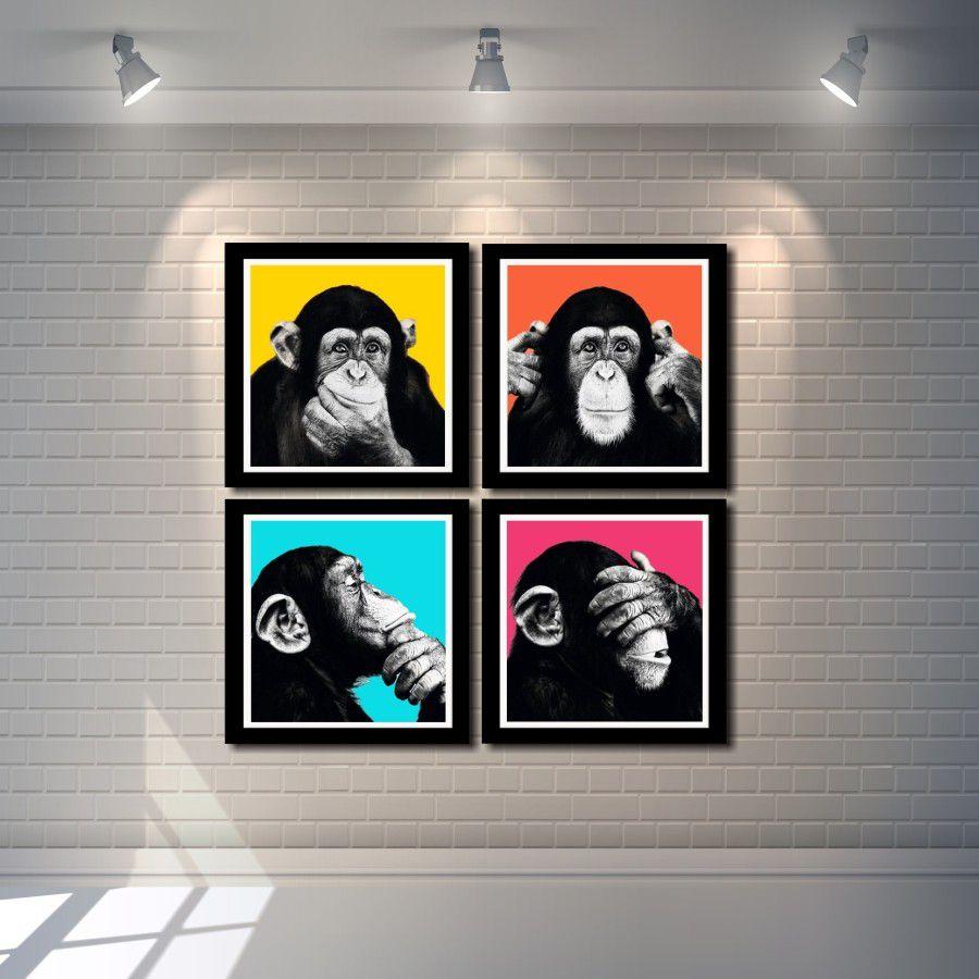 Kit Quadros Decorativos  Macaco Engraçado Moderno