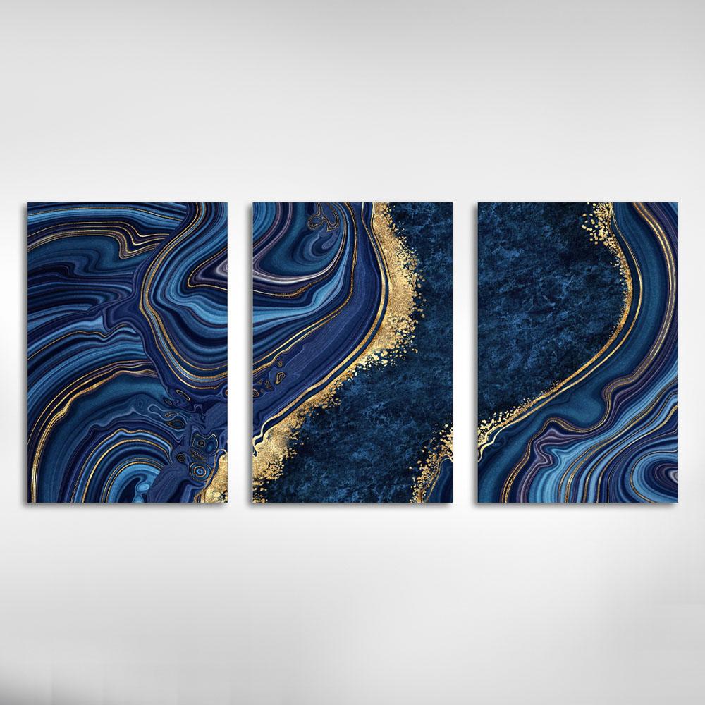 Kit Quadros Decorativos Marmorizado Azul Escuro