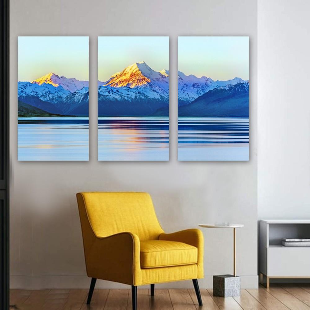 kit Quadros Decorativos Montanha Beirando Lago