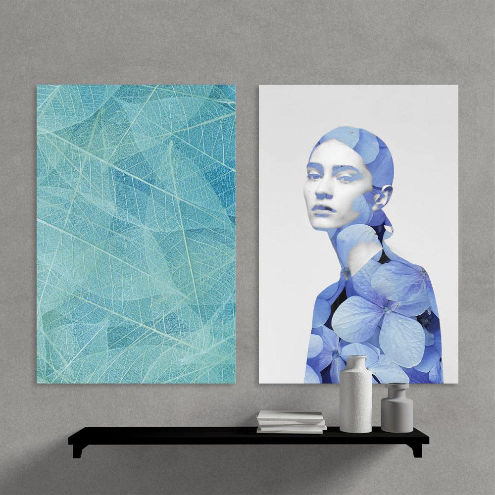 Kit Quadros Decorativos Mulher Folhagem moderno