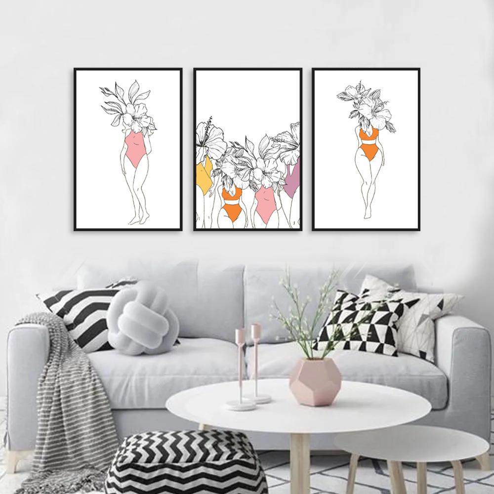 Kit Quadros Decorativos Mulheres Flores