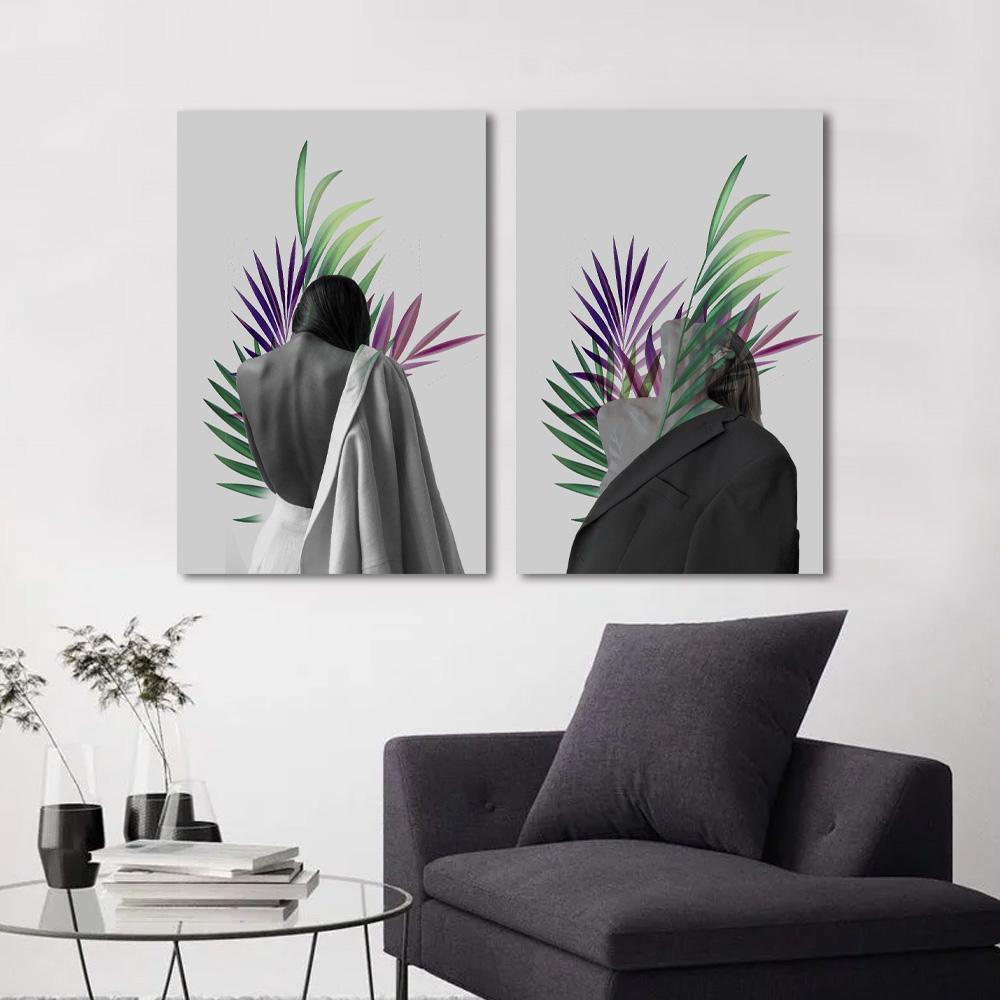 Kit Quadros Decorativos mulheres Moderna Folhagem