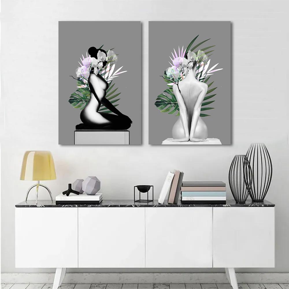 Kit Quadros Decorativos Nu Artístico folhagem