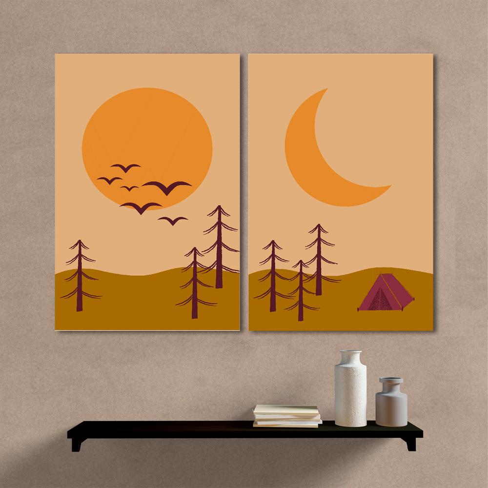 Kit quadros Decorativos Paisagem Acampamento Minimalista Sol e Lua