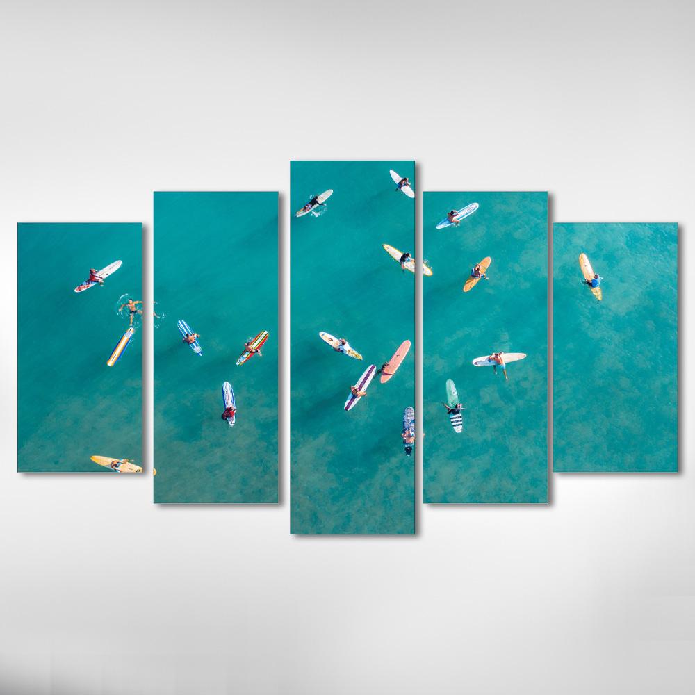 Kit Quadros Decorativos Praia Surf 5 Peças