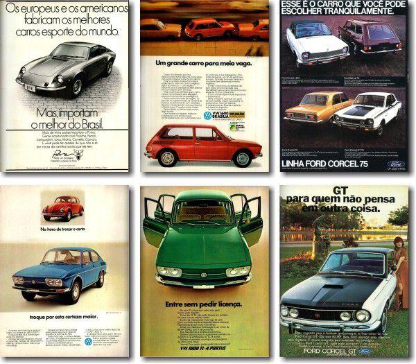 Kit Quadros Decorativos Propagandas Antigas de Carros
