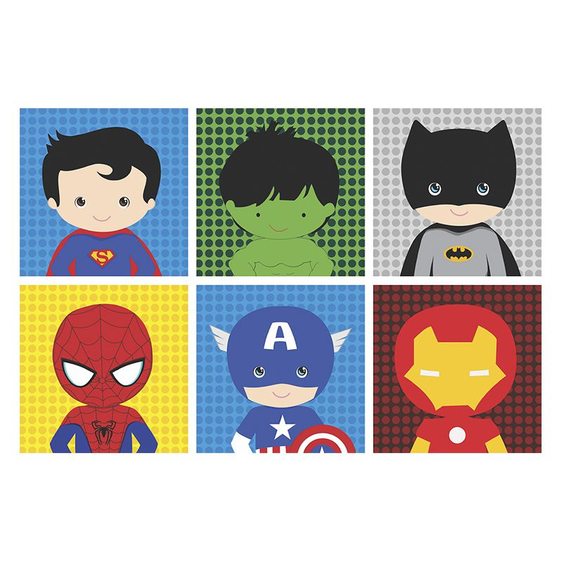 Kit Quadros Decorativos Super Herói Baby Marvel Infantil