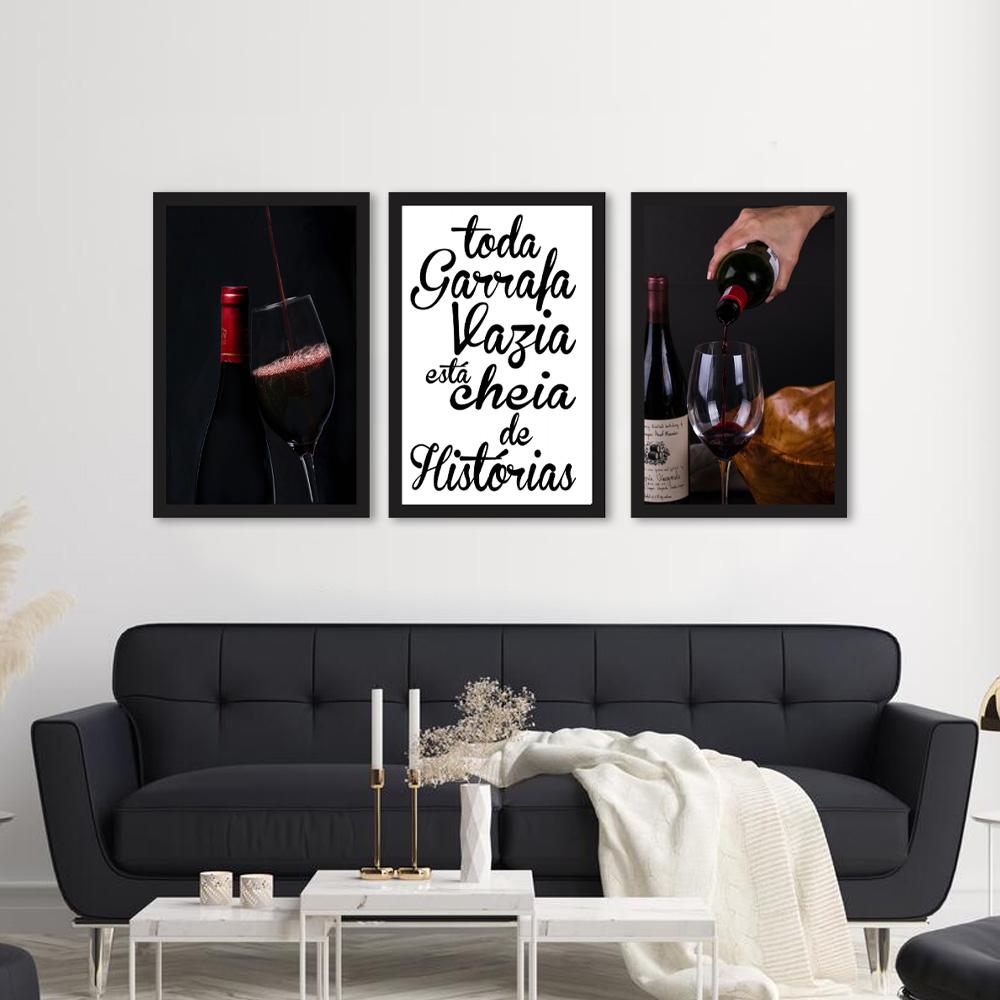Kit Quadros Decorativos Vinho e Frases