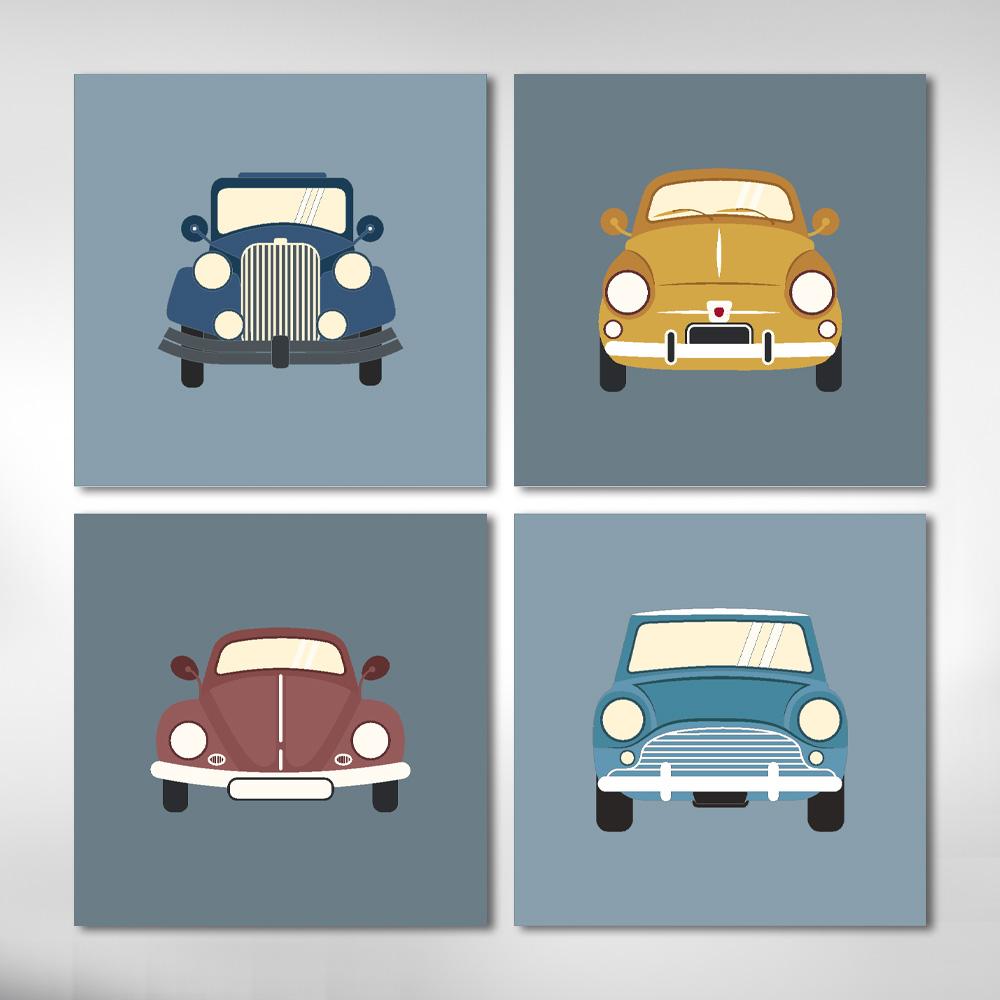 Kit Quadros Infantil Carros Antigos