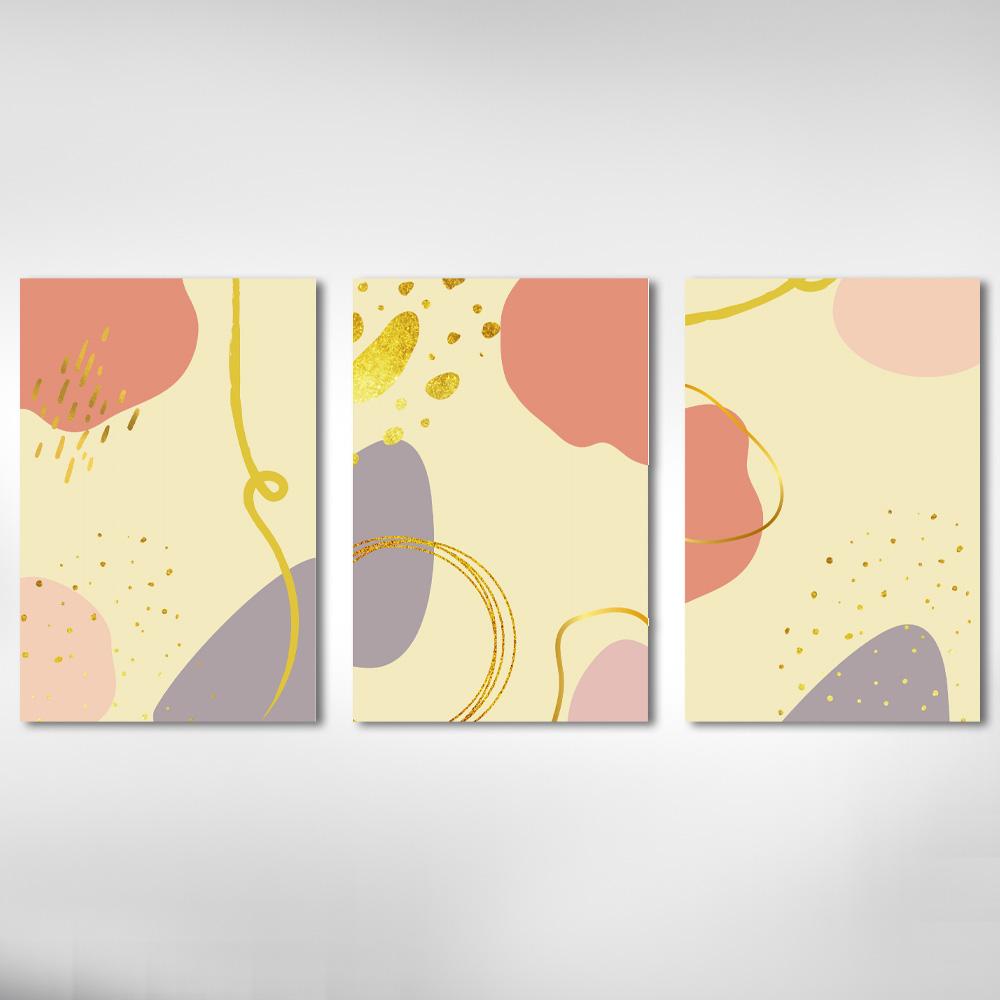 Kit Quadros Minimalistas Rosa Com detalhes Dourado