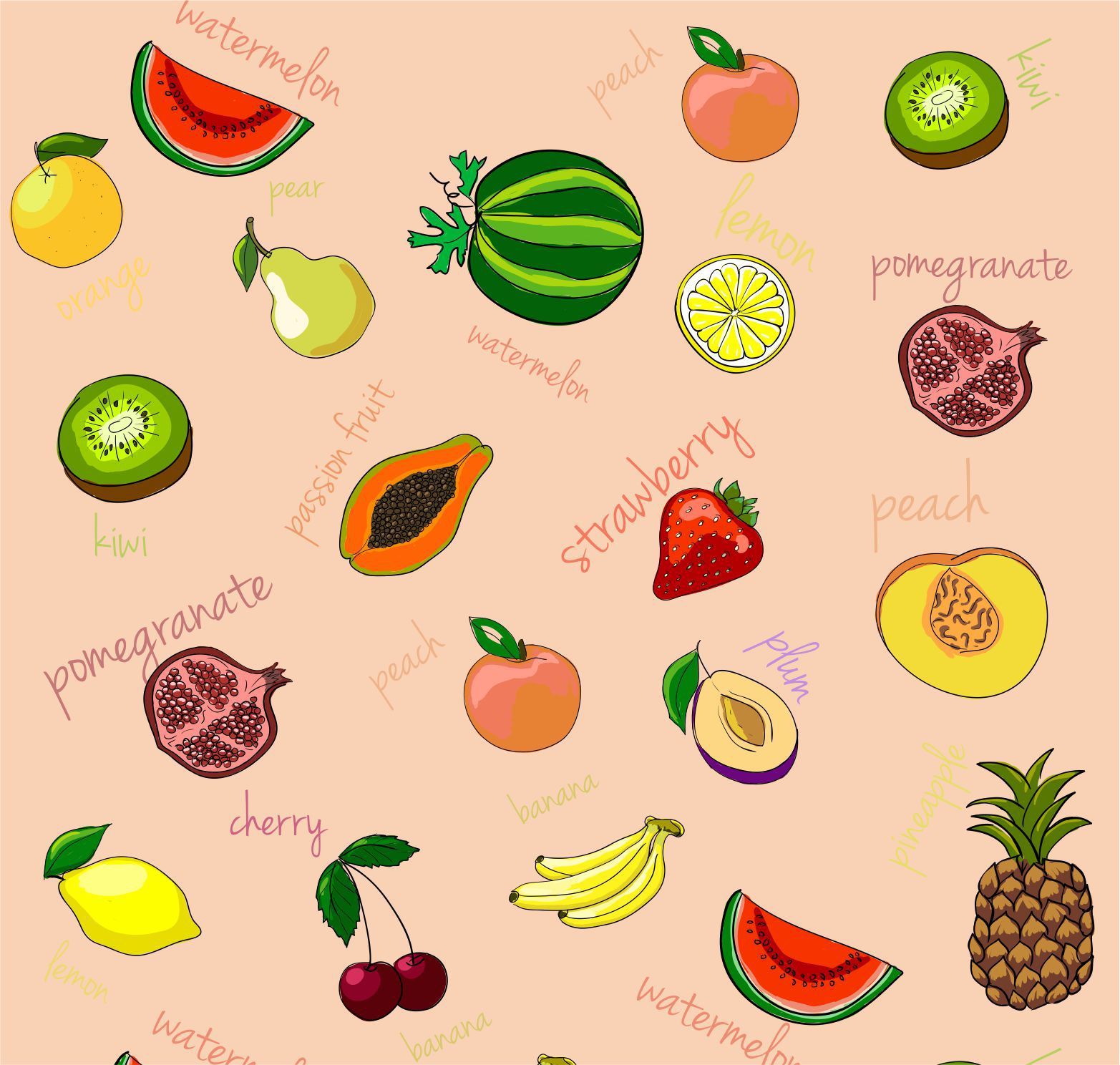 Papel De Parede Decorativo Frutas Rolo de 0,60 x 3,00