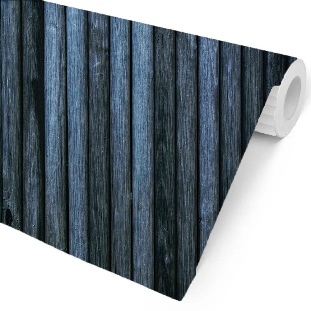 Papel de Parede Estilo Madeira Azul Marinho