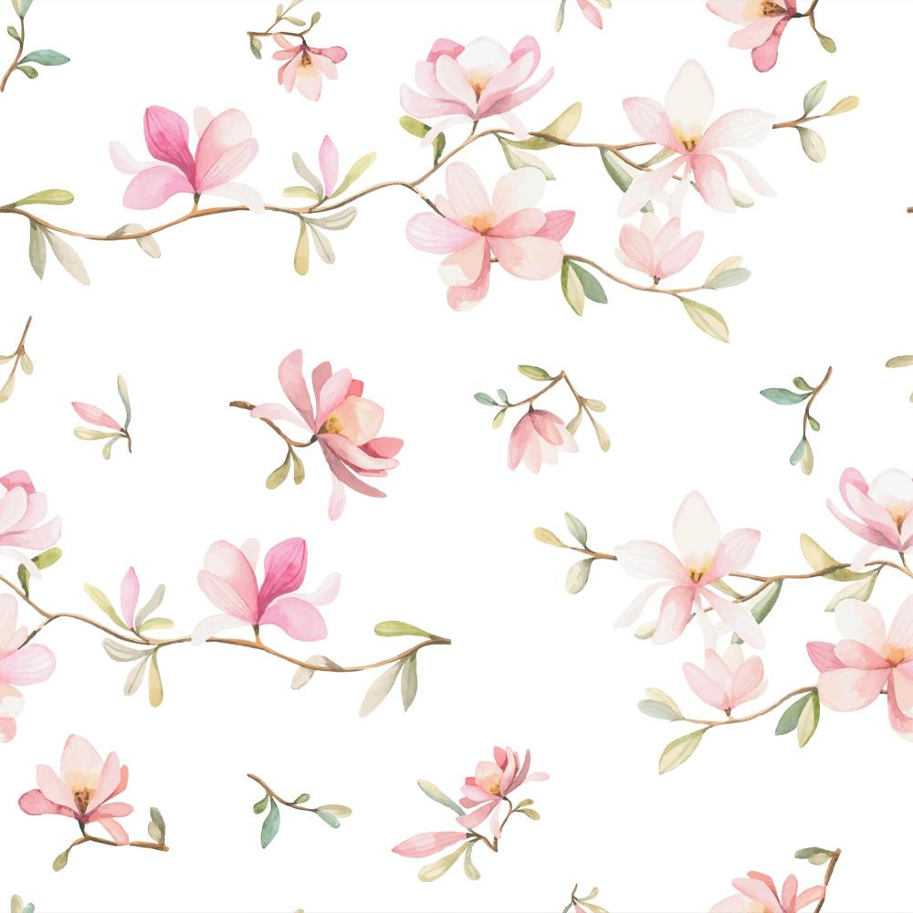 Papel de Parede Flores Rosa Delicada